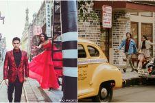 Gaya prewedding street style 8 seleb, Chelsea Olivia pose di Shanghai