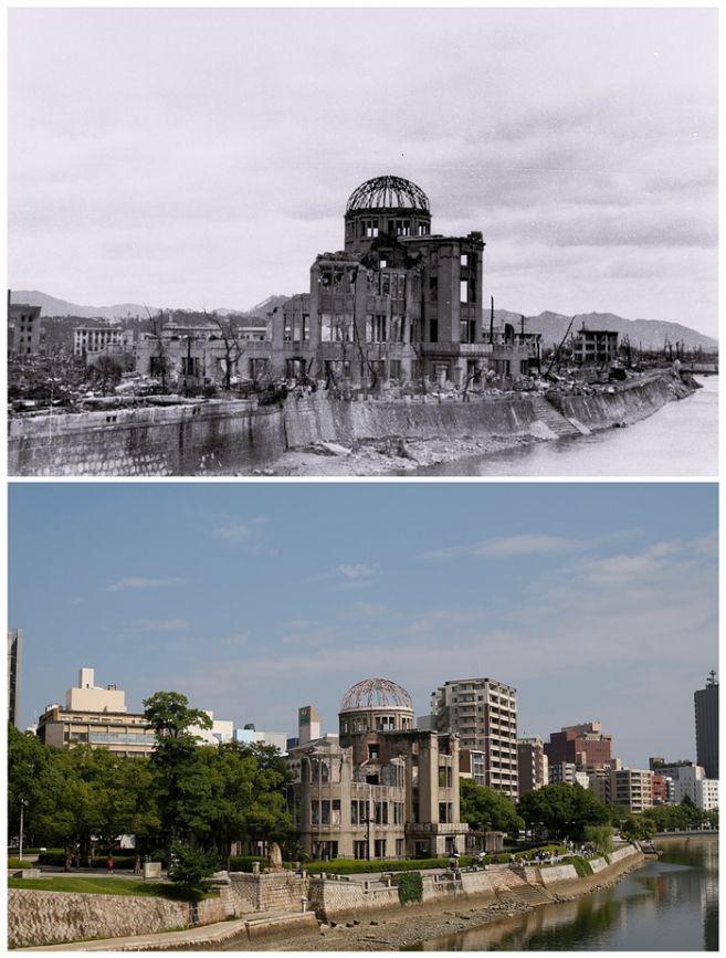 Foto-foto kondisi Hiroshima-Nagasaki sekarang dan 70 tahun lalu
