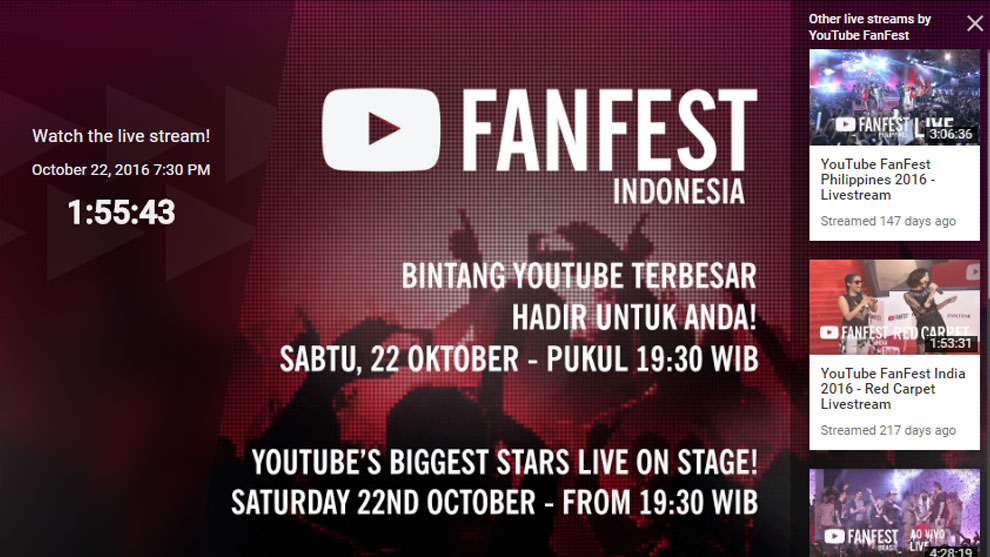 Wajib Tonton! Link Video Livestreaming YouTube FanFest Indonesia 2016