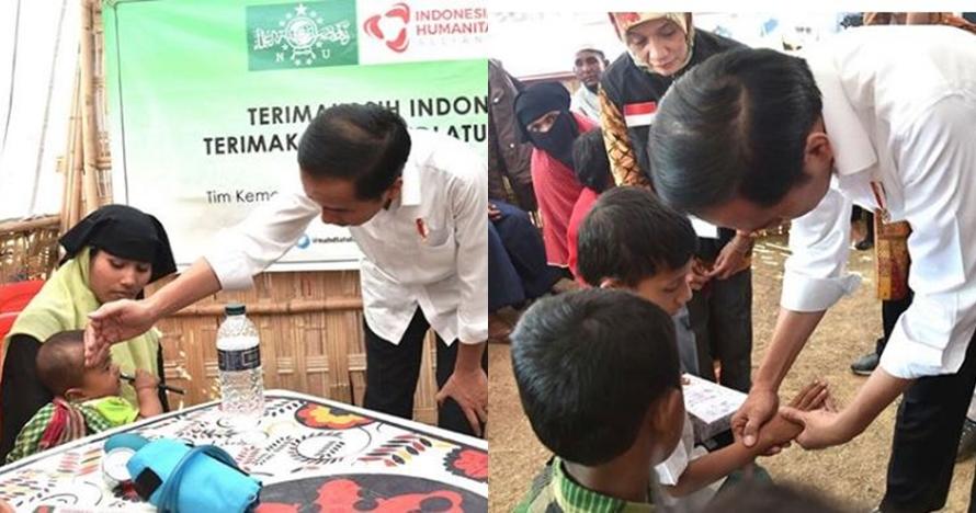 Momen Jokowi & Iriana bercengkerama sama anak-anak pengungsi Rohingya