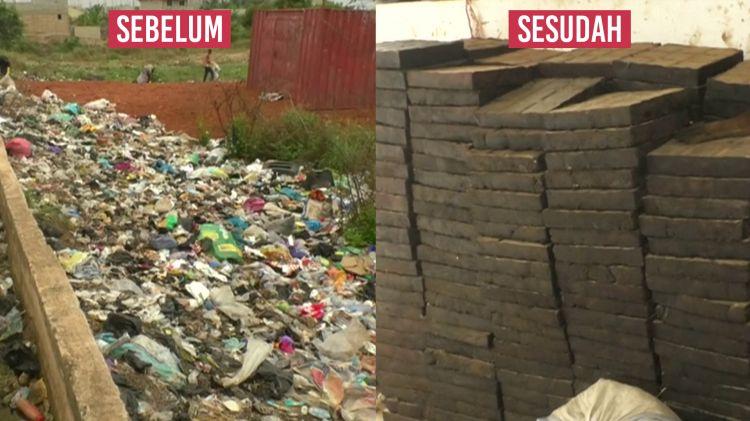 Sampah plastik disulap jadi paving block untuk trotoar, keren ban