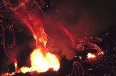 Begini penampakan lava gunung api di Hawaii saat dilihat dari atas