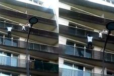 Layaknya Spiderman, pria ini panjat gedung untuk selamatkan bayi